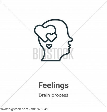 Feelings icon isolated on white background from brain process collection. Feelings icon trendy and m