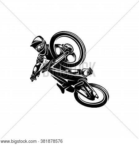 Mountain Bike Downhill Logo Vector Illustration, Downhill Players Silhouette Design