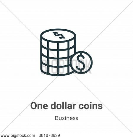 One dollar coins icon isolated on white background from business collection. One dollar coins icon t
