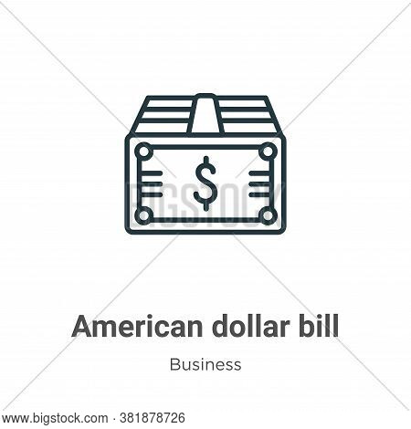 American dollar bill icon isolated on white background from business collection. American dollar bil