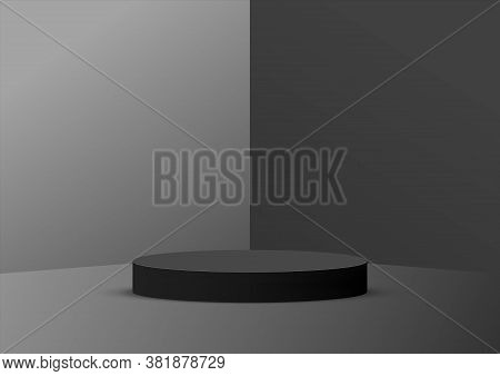 Empty Podium Studio Black Background For Product Display With Copy Space. Showroom Shoot Render. Ban