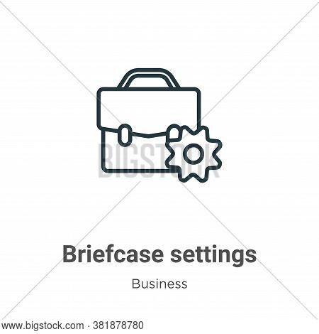 Briefcase settings icon isolated on white background from business collection. Briefcase settings ic