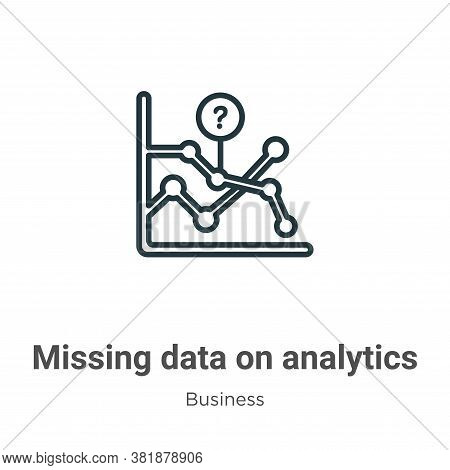 Missing data on analytics line graphic icon isolated on white background from business collection. M