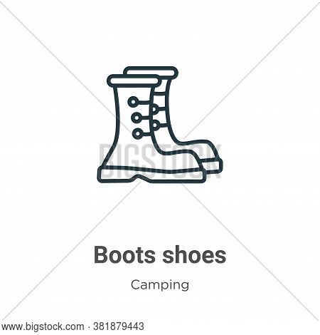 Boots shoes icon isolated on white background from camping collection. Boots shoes icon trendy and m