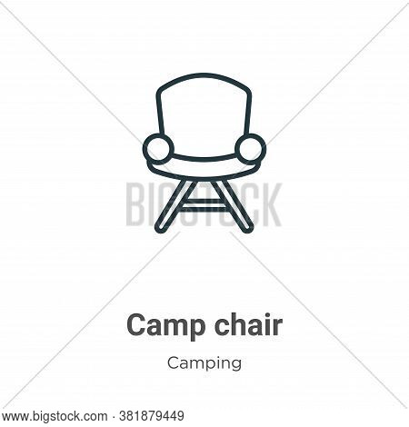 Camp chair icon isolated on white background from camping collection. Camp chair icon trendy and mod