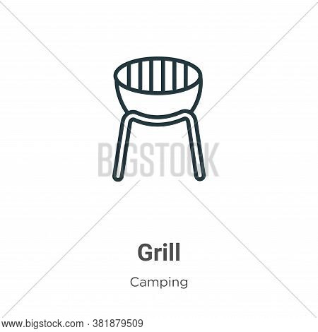 Grill icon isolated on white background from camping collection. Grill icon trendy and modern Grill