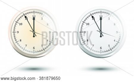 Mechanical Wall Clock With A Round Dial. Measuring Time. Countdown To The New Year 2021. Realistic V