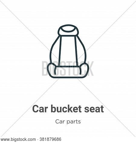 Car bucket seat icon isolated on white background from car parts collection. Car bucket seat icon tr