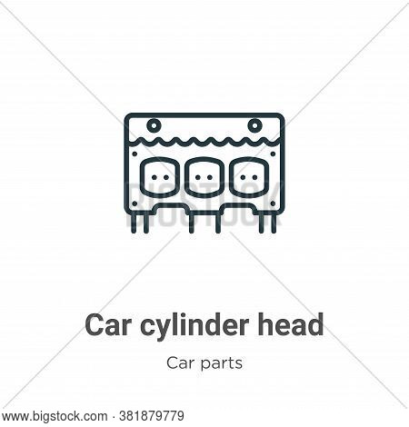 Car cylinder head icon isolated on white background from car parts collection. Car cylinder head ico