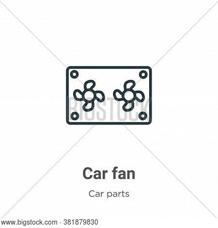Car fan icon isolated on white background from car parts collection. Car fan icon trendy and modern