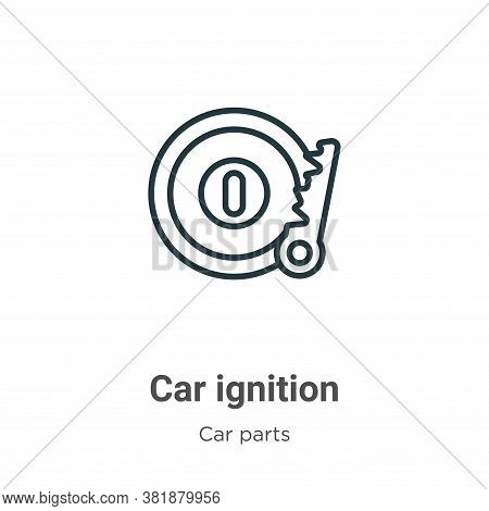 Car ignition icon isolated on white background from car parts collection. Car ignition icon trendy a