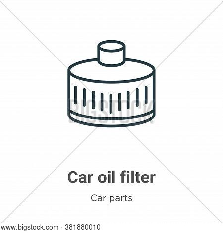 Car oil filter icon isolated on white background from car parts collection. Car oil filter icon tren