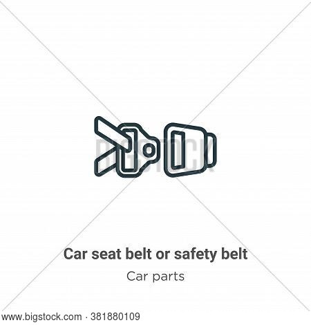 Car seat belt or safety belt icon isolated on white background from car parts collection. Car seat b