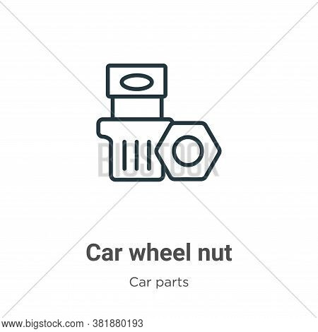 Car wheel nut icon isolated on white background from car parts collection. Car wheel nut icon trendy