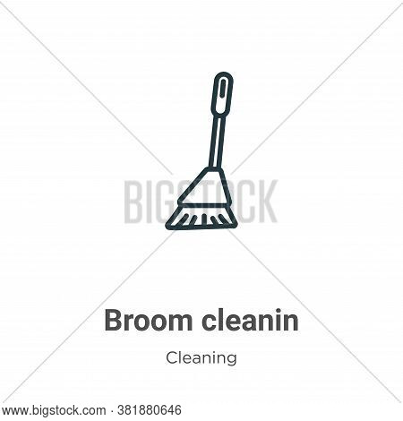 Broom cleanin icon isolated on white background from cleaning collection. Broom cleanin icon trendy