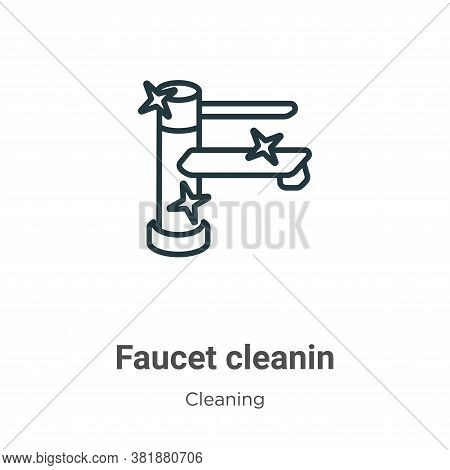Faucet cleanin icon isolated on white background from cleaning collection. Faucet cleanin icon trend