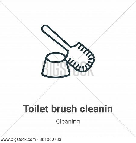 Toilet brush cleanin icon isolated on white background from cleaning collection. Toilet brush cleani