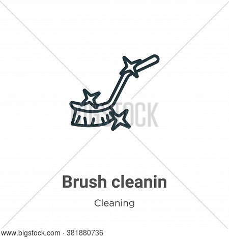 Brush cleanin icon isolated on white background from cleaning collection. Brush cleanin icon trendy