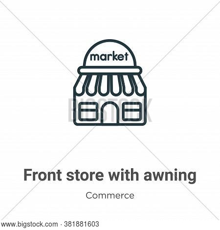 Front store with awning icon isolated on white background from commerce collection. Front store with