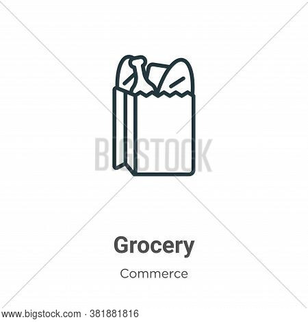 Grocery icon isolated on white background from commerce collection. Grocery icon trendy and modern G
