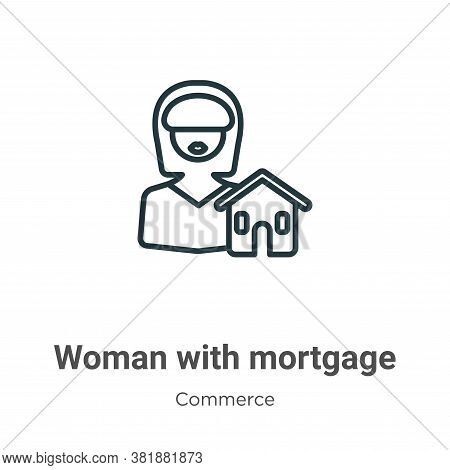 Woman with mortgage icon isolated on white background from commerce collection. Woman with mortgage