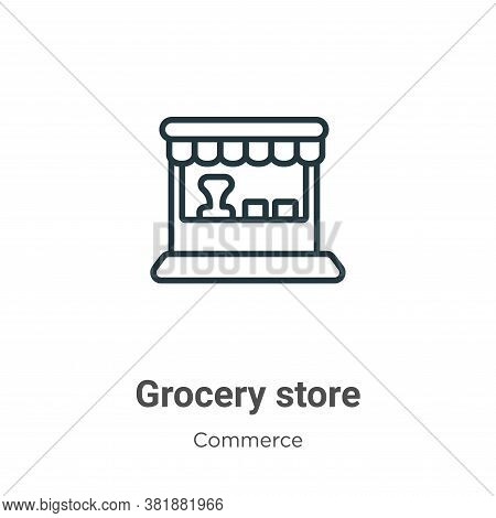 Grocery store icon isolated on white background from commerce collection. Grocery store icon trendy