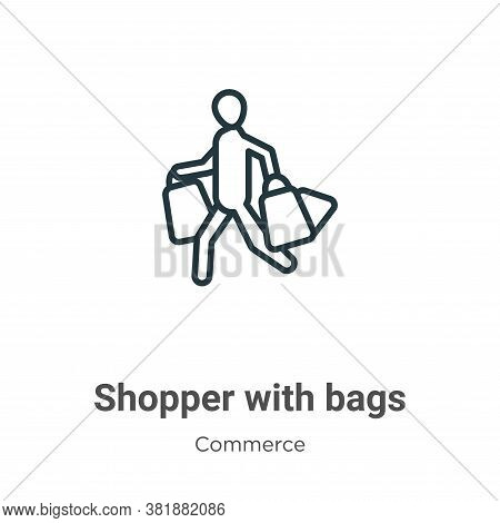 Shopper with bags icon isolated on white background from commerce collection. Shopper with bags icon