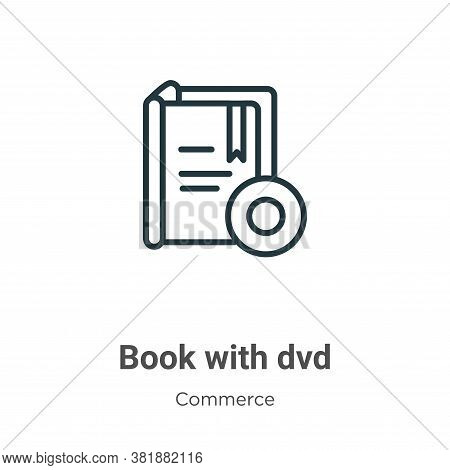 Book with dvd icon isolated on white background from commerce collection. Book with dvd icon trendy