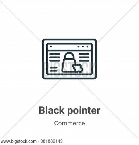 Black pointer icon isolated on white background from commerce and shopping collection. Black pointer