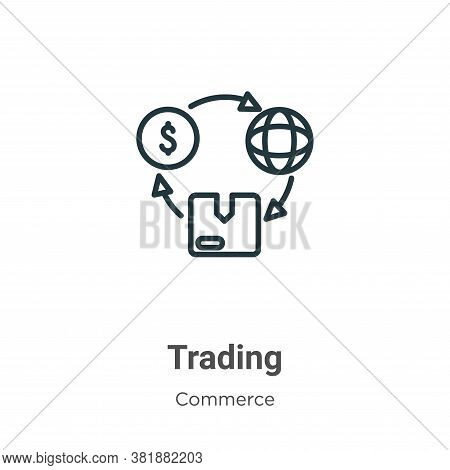 Trading icon isolated on white background from commerce and shopping collection. Trading icon trendy