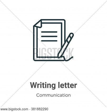 Writing letter icon isolated on white background from communication collection. Writing letter icon