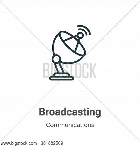 Broadcasting icon isolated on white background from communications collection. Broadcasting icon tre