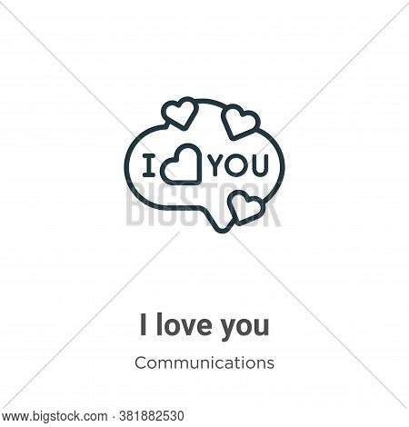I love you icon isolated on white background from communications collection. I love you icon trendy