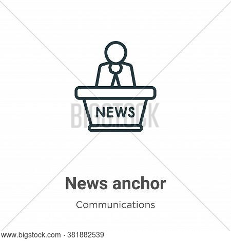 News anchor icon isolated on white background from communications collection. News anchor icon trend