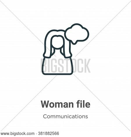 Woman file icon isolated on white background from communications collection. Woman file icon trendy