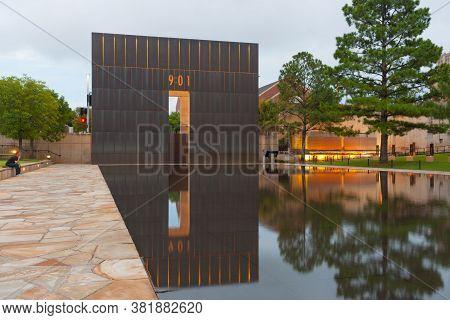 Oklahoma Oklahoma City  Usa September 9 2015;  National Memorial And Museum Monument East Gate Of Ti
