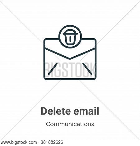 Delete email icon isolated on white background from communications collection. Delete email icon tre