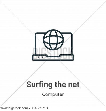Surfing the net icon isolated on white background from computer collection. Surfing the net icon tre