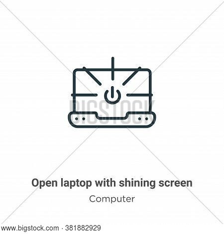 Open laptop with shining screen icon isolated on white background from computer collection. Open lap