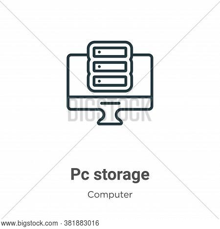 Pc storage icon isolated on white background from computer collection. Pc storage icon trendy and mo