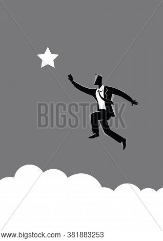 Business Concept Vector Illustration Of A Businessman Jumps To Reach Out For The Star, For Aspiratio