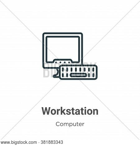 Workstation Icon From Computer Collection Isolated On White Background.