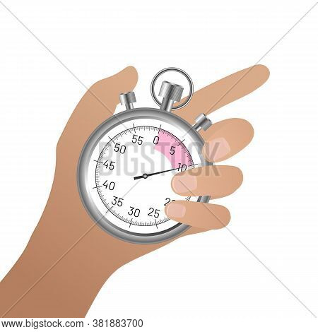 Female Hand Holding Thumb Finger Chrome Stopwatch. Time Control On Competition, Optimization Of Work