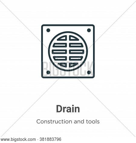 Drain icon isolated on white background from construction and tools collection. Drain icon trendy an