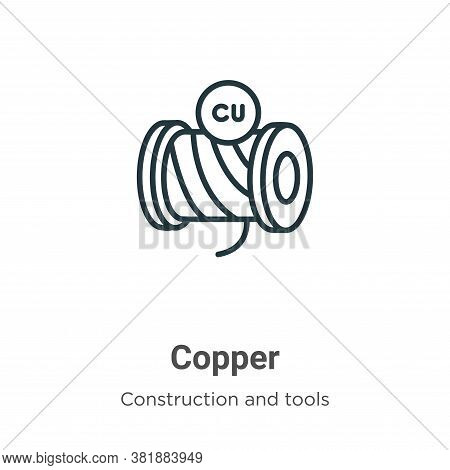 Copper icon isolated on white background from construction and tools collection. Copper icon trendy
