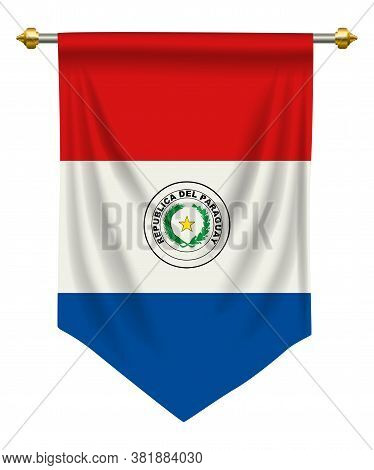 Paraguay Flag Or Pennant Isolated On White