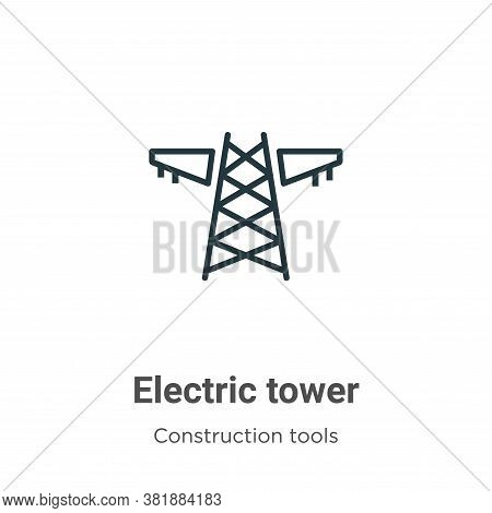 Electric tower icon isolated on white background from construction tools collection. Electric tower