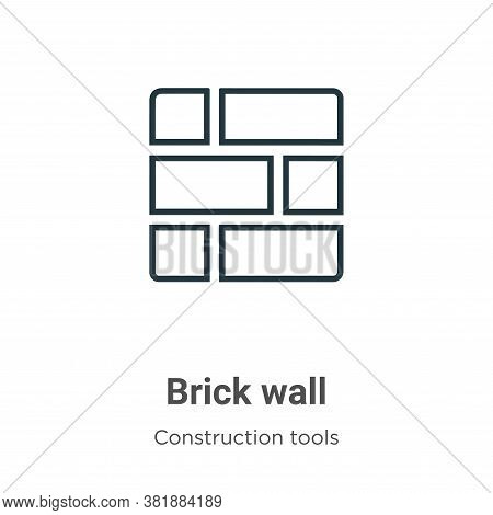 Brick wall icon isolated on white background from construction tools collection. Brick wall icon tre