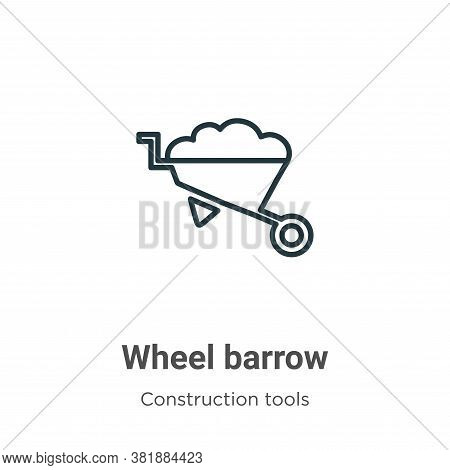 Wheel barrow icon isolated on white background from construction collection. Wheel barrow icon trend