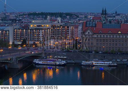 Prague, Czech Republic - April 22, 2018: Blue April Twilight In Modern Prague